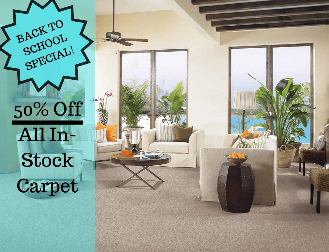 50% off all in-stock carpet special